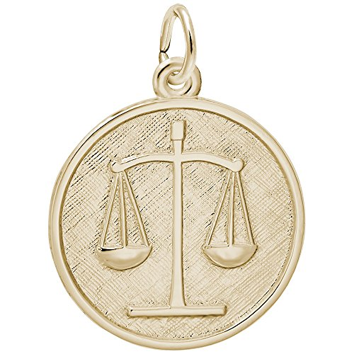 Gold Plated Scales Of Justice Charm, Charms for Bracelets and Necklaces (Plated Justice Gold)