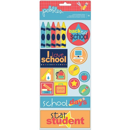 Pebbles 732347 Back to School Cardstock Stickers, 6 by 12-Inch, Crayon Phrase and Accent