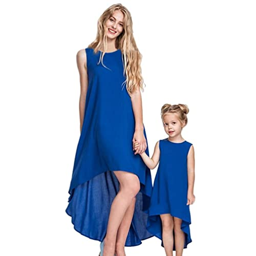 YOUJIA Sleeveless Round Neck Asymmetric Family Clothes Mother Daughter Dresses