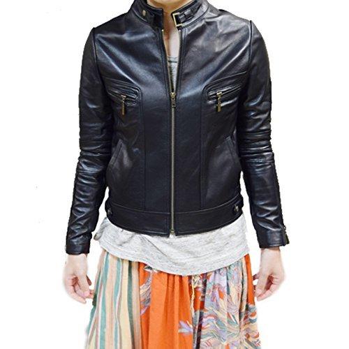 ライダースジャケット 本革 シングル レザージャケット レディース イタリア製ラムレザー B01N99FHZF M|ブラック ブラック M