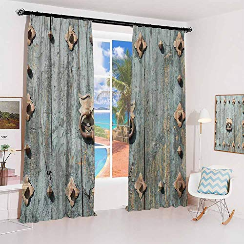 Rustic Hook up Curtain European Cathedral with Rusty Old Door Knocker Gothic Medieval Times Spanish Style for Bedroom Kindergarten Living Room W100 x L84 Inch Turquoise (Style Window Spanish Treatments)