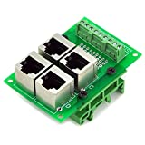 Electronics-Salon RJ45 8P8C 4-Way Buss Board Interface Module with Simple DIN Rail Mounting feet.