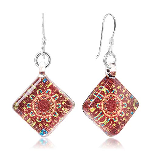 Murano Glass Orange Pendant (Sterling Silver Hand Blown Venetian Murano Glass Orange Mandala Flower Square Dangle Earrings)