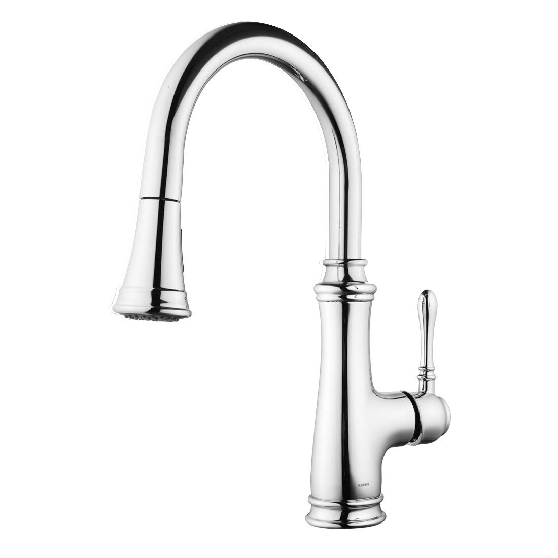 Keewi Kitchen Faucet Chrome Single Handle Pull Down Kitchen Faucet, Kitchen Sink Faucet, Single Hole Kitchen Faucet with Sprayer, Single Lever Kitchen Faucet Sink Faucet with Sprayer by Keewi