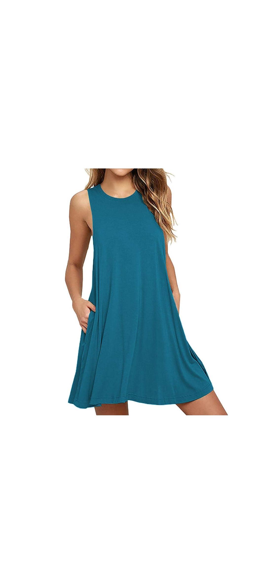 Women Summer Casual T Shirt Dresses Beach Cover Up Tank