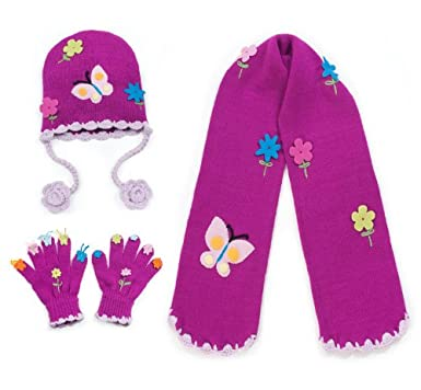 5ff6ed25d15 Amazon.com  Kidorable Little Girls  Butterfly Hat Scarf Gloves Set ...