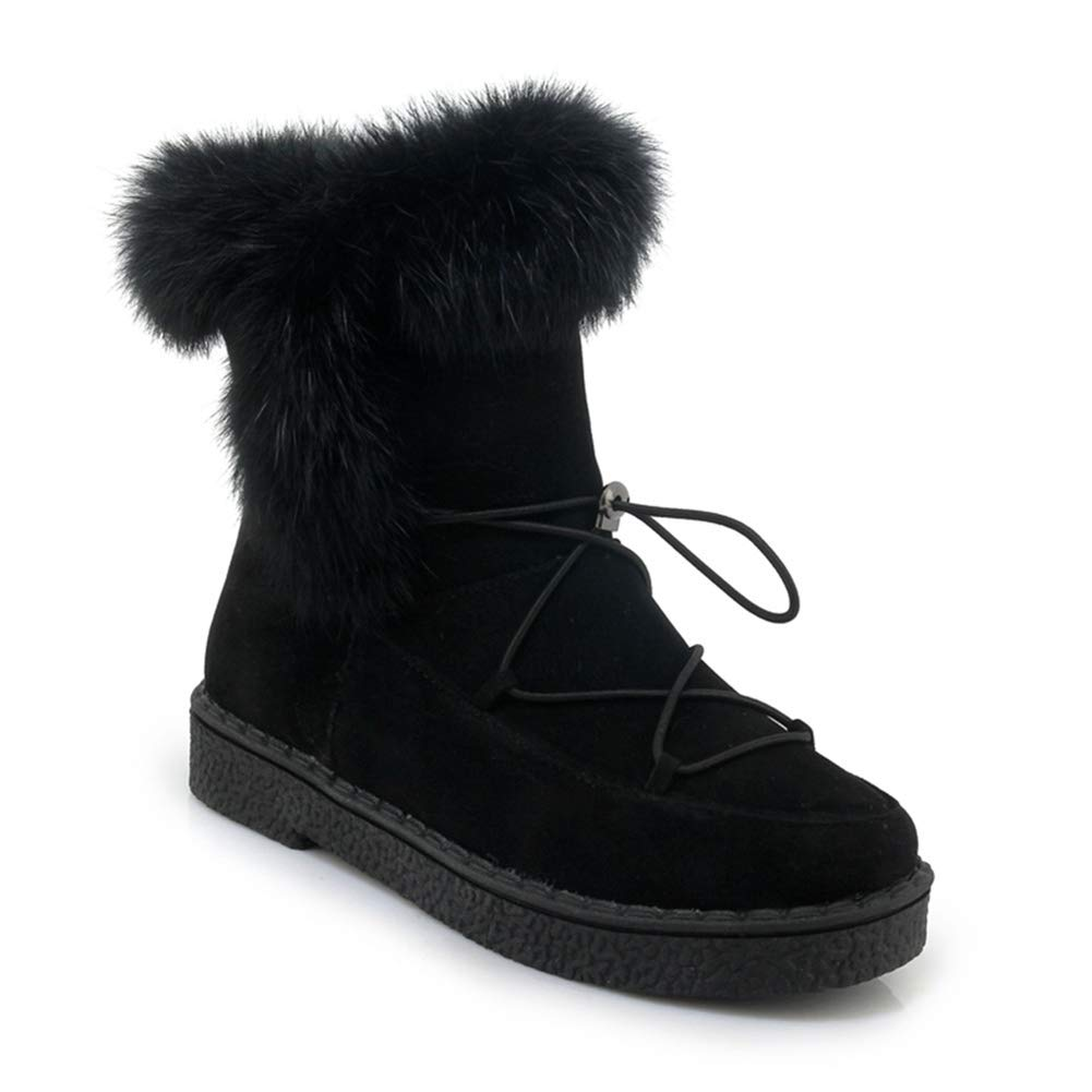 Black Btrada Women's Snow Boots Long Plush Fashion Warm Casual shoes Lace Up Style Winter Female Ankle Booties