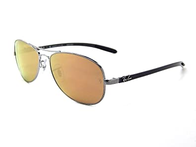 e58bb2df43 Image Unavailable. Image not available for. Color  New Ray Ban Carbon Fibre  RB8313 004 N3 Shiny Gunmetal   Brown Mirror Gold Polar