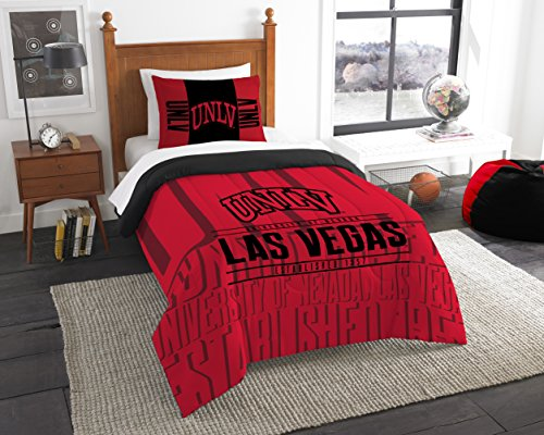 Officially Licensed NCAA UNLV Rebels Modern Take Twin Comforter and Sham (Comforter Set Nevada)