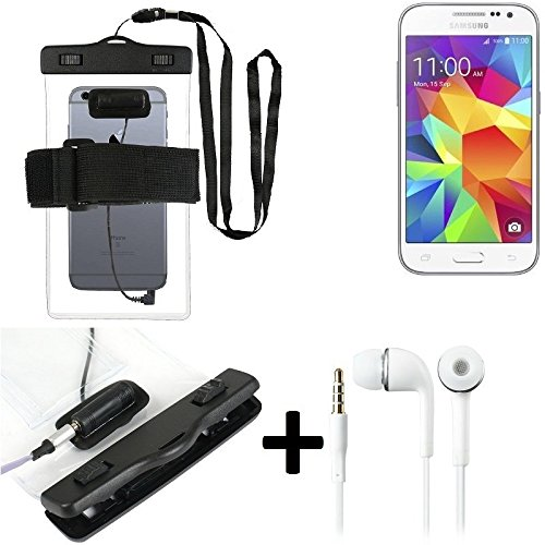 Estuche estanco al agua con entrada de auriculares para Samsung Galaxy Core Prime + auricular incluido, transparente | Trotar bolsa de playa al aire libre caja brazalete del teléfono caso de cáscara b