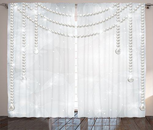 (Pearls Decor Curtain by Ambesonne, Diamonds Stones and Pearls Necklace Hanging Digital Printed Image Bridal Decor Art, Window Drapes 2 Panel Set for Living Room Bedroom, 108 x 84 Inch,)