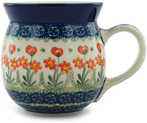 Polish Pottery Bubble Mug 16 oz Peach Spring Daisy