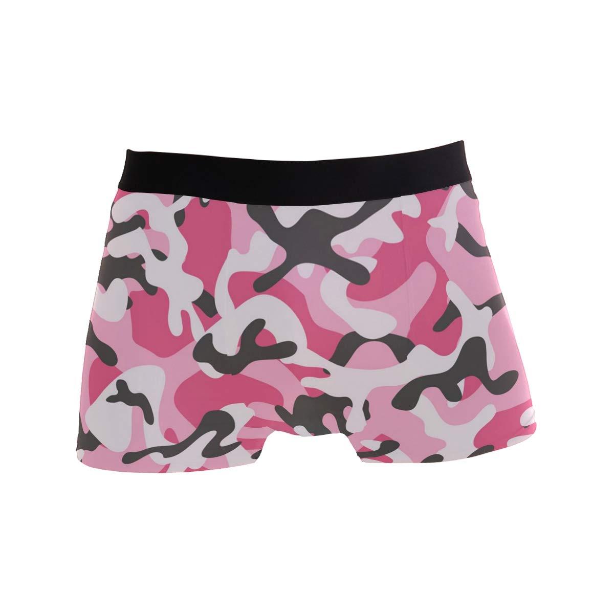 Forest Leaf-Camouflage Pink Mens Underwear Mens Bag Soft Cotton Underwear 2 Pack