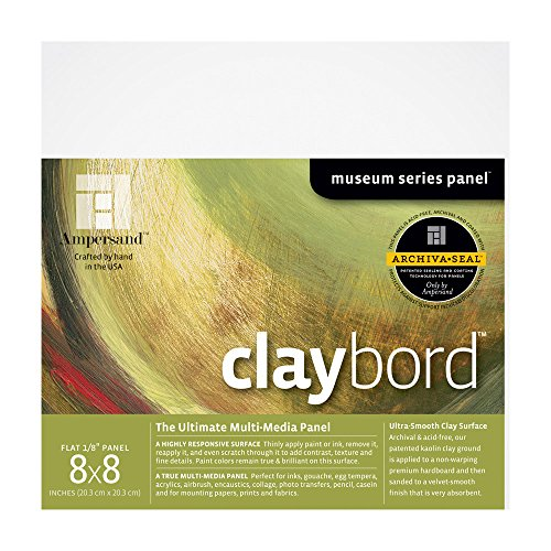 Ampersand Museum Series Claybord Panels for Paint and Ink, 1/8 Inch Depth, 8X8 Inch (CBS088) ()