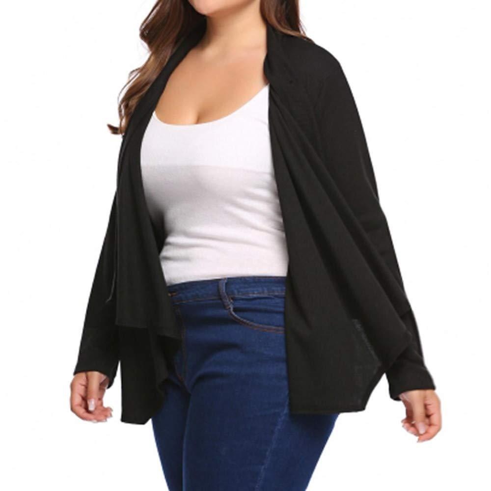 Linlink Las Mujeres se abren Cardigan Abrigo de Manga Larga botón de la Cubierta Pura Capa de Cabo más tamaño: Amazon.es: Ropa y accesorios