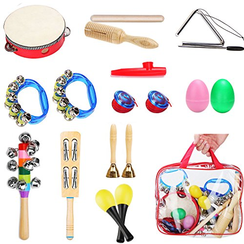UFire Toys Musical Instruments set-18pcs Percussion Toy Rhythm Band Kit for Kids Preschool Educational Early Learning Offworld with Carrying bag
