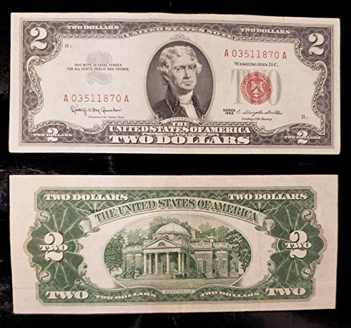 - 1953 and 1963 $2 Bills set of 2 Old US Currency with Red Seal Nice Condition