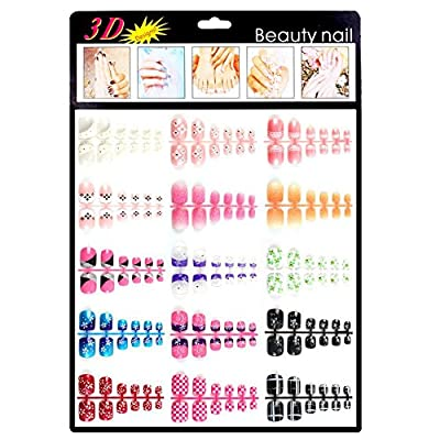 Xxshop 180 pcs Colorful Mixed TOE False Nails / 3D Nail Art Tips