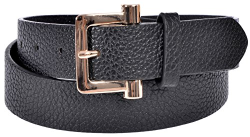 Sunny Belt Women's Lightly Grooved Jean Belt with Gold Buckle Black Small