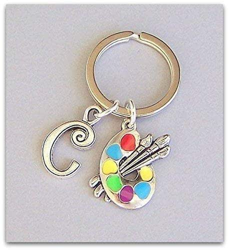 Personalized artist keyring with palette charm and initial unisex keychain gift for painter or crafter