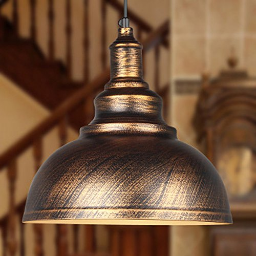 JINGUO Lighting Industrial Vintage 1-Light Pendant Lights Hanging Lights Ceiling Lamp Chandelier with Metal Shade in Antique Brass (Kalco Copper Table Lamp)