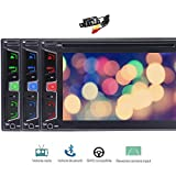 Free Backup Camera Wince Style 3 UI Double 2 Din Car Stereo DVD Player GPS Navigation Radio Bluetooth Capacitive Touch Screen Support USD SD 1080P SWC Car Logo Multi Language Remote Control