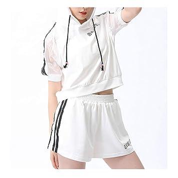 XYACM Chándal de Mujer Gym Sports Side Stripe Top Corto con ...