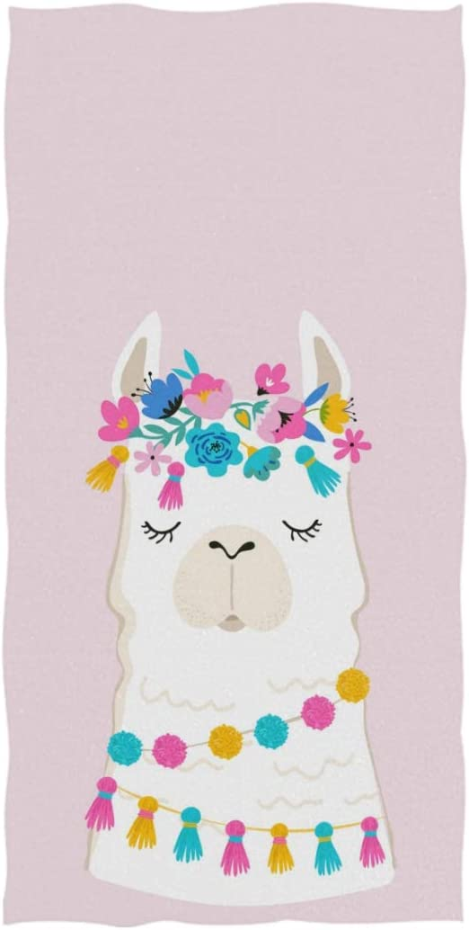 AGONA Hand Towel Cute Animal Llama Alpaca Floral Ultra Soft Absorbent Fingertip Towels Decorative Large Bath Towels Multipurpose for Bathroom Kitchen Gym Yoga Spa 30x15