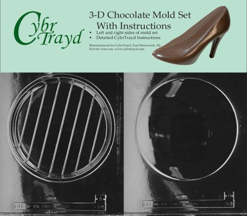 Cybrtrayd D301AB Chocolate Candy Mold, Includes 3D Chocolate Molds Instructions and 2-Mold Kit, 7-1/2-Inch, Round Pour Box