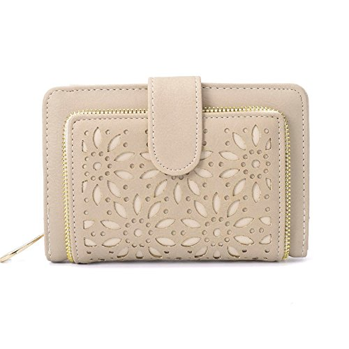 Faux Leather Vintage Hollow Bifold RFID Blocking Wallet Women Short Credit Card Holder