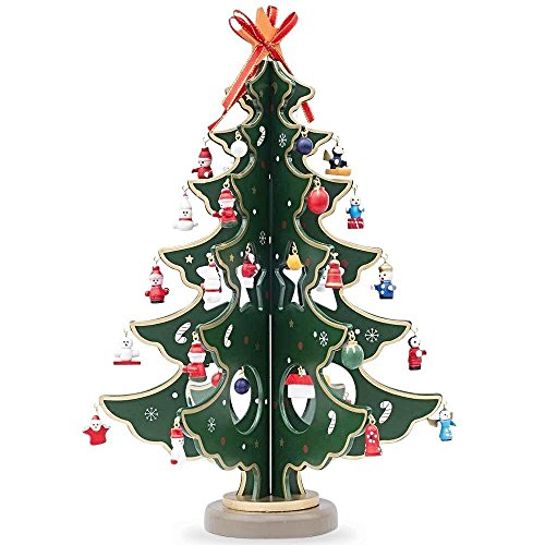 (BestPysanky Wooden Tabletop Christmas Tree with 32 Miniature Christmas Ornaments 12.5 Inches)