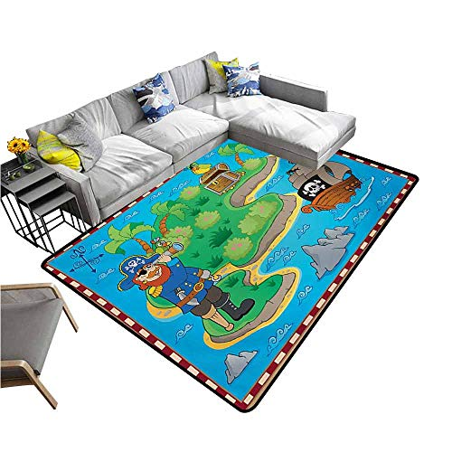 (Kitchen Mat for Living Room Island Map,Funny Cartoon of Treasure Island with A Pirate Ship and Parrot Kids Play Room,Multicolor 48