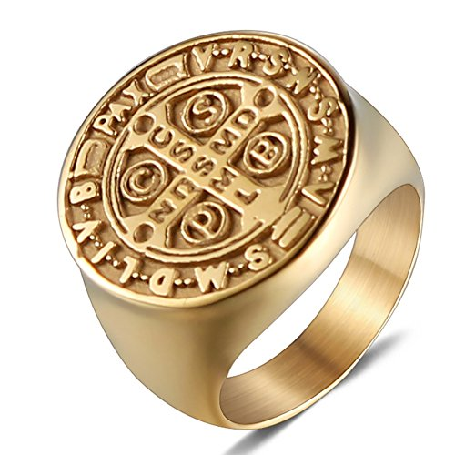 JAJAFOOK Men Gold Plated Stainless Steel Catholic St Benedict Exorcism Signet Ring Cross Band (Signets Halloween)