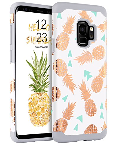 BENTOBEN Cases for Samsung Galaxy S9 Pineapple, Case for Galaxy S9 2 in 1 Hard PC Cover Hybrid TPU Bumper Shockproof Protective Phone Cases for Girls, Women - Grey