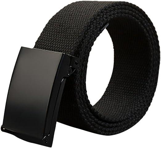 Mens Unisex Cotton Canvas Fabric Webbing Buckle Army Belt Adjustable 110cm