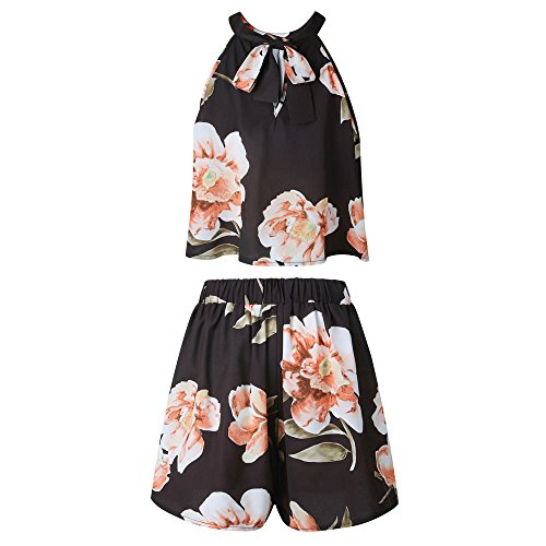 d303244a129 Handyulong Women Rompers Floral Print Sleeveless Casual Tops Shorts Two  Piece Outfits Jumpsuits Playsuits for Teen