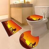 3 Piece Bath mat set diver yello fish scuba diving bunaken indonesia sea reef ocean Bathroom Rugs Contour Mat Lid Toilet Cover