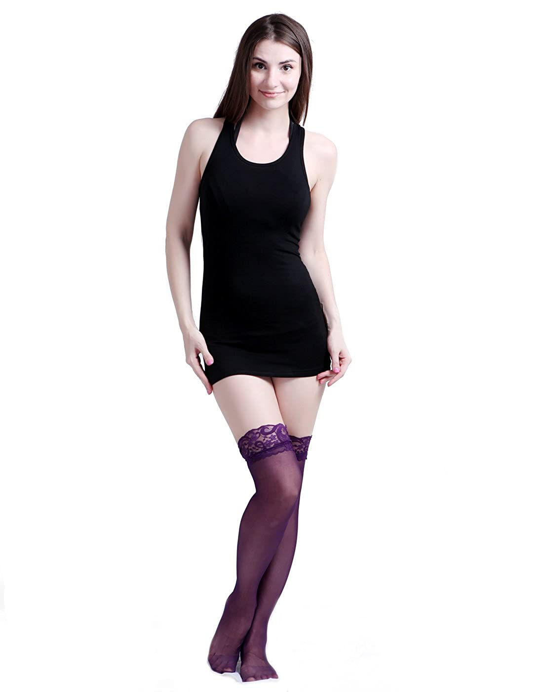 f7b6248af HDE Women s Sheer Thigh High Garter Stockings with Scallop Lace Top (Purple)  at Amazon Women s Clothing store