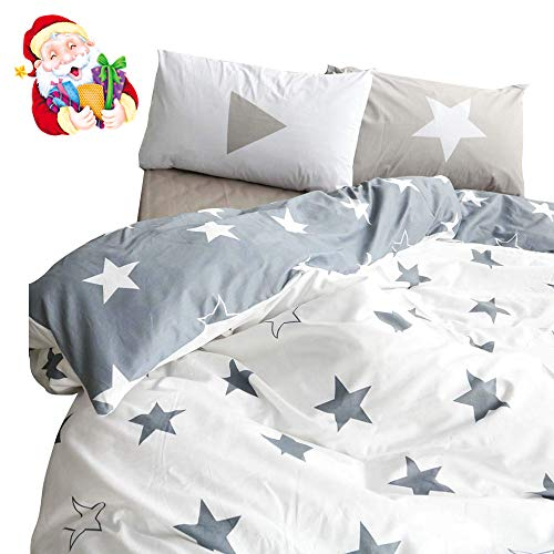 BuLuTu Kids Bedroom Five-Pointed Stars Reversible Cotton Kids Duvet Cover Sets Twin Grey/White Bedding Cover with 2 Pillowcases,Gifts for Men,Women,Children,Boys,Girls,Friend,Family,No Comforter ()
