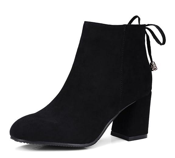 Easemax Damen Klassisch Nubuk Schleife Ankle Boots Mit Absatz Schwarz 39 EU BnUgqqB