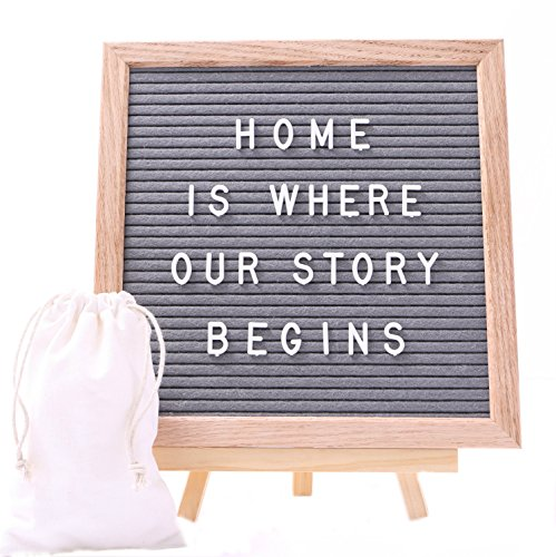 J&A Homes Felt Letter Board Sign – Oak Frame, Gray Felt, Over 300 White Letters, Numbers, Special Characters, Symbols and Emojis – Wall Mount and (Nursery Sign Board)