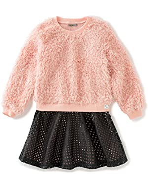 Baby Girls' Curly Knit Body With Pleather Skirt