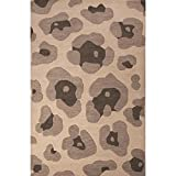 8' x 10' Timberwolf, Davy's Gray and Umber Leopard Hand Tufted Animal Print Wool Area Throw Rug