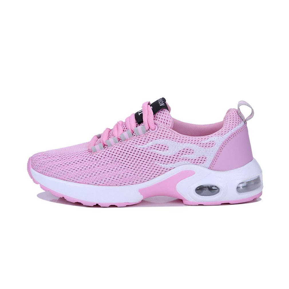 GoldGOD Sportschuhe Männer Fliegen Gewebte Lässige Schuhe Luftkissen Erhöht Damenschuhe Laufschuhe Atmungsaktive Paar Schuhe,Rosa,43UK