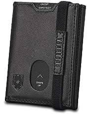 Herenportemonnee, slanke portemonnee, RFID-blokkerende lederen portemonnee, drievoudig gepersonaliseerde portefeuilles voor mannen met ritssluiting, ID-venster, elastische band met geschenkdoos