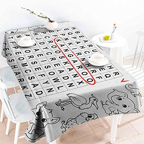 Fashions Rectangular Table Cloth,Word Search Puzzle Black and White Game Sheet Design Finding The Names of Animals,Table Cover for Kitchen Dinning Tabletop Decoratio,W52x70L Black White Red