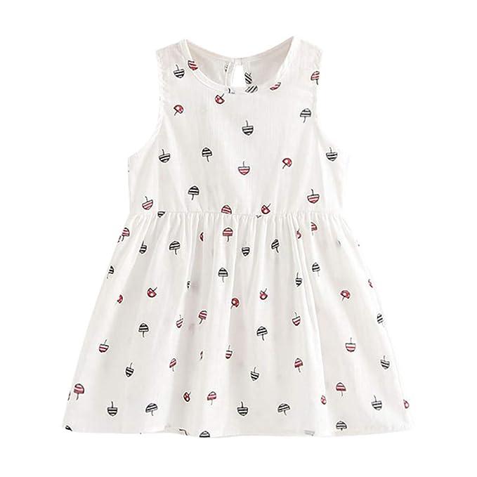 OPAKY Vestido Princesa de Verano para Niñas Pequeñas Niños Fiesta de bebé Vestidos sin Mangas de Boda Fiesta Bautizo para Bebé Niña Recién Nacido: ...