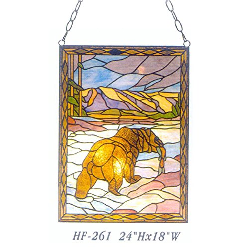 HF-261 Tiffany Style Stained Glass Animal Theme Rectangle Window Hanging Glass Panel Sun Catcher, 24