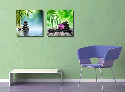 Stones and Bamboo on The Water Spa Treatment Wall Decor ation x 2 Panels