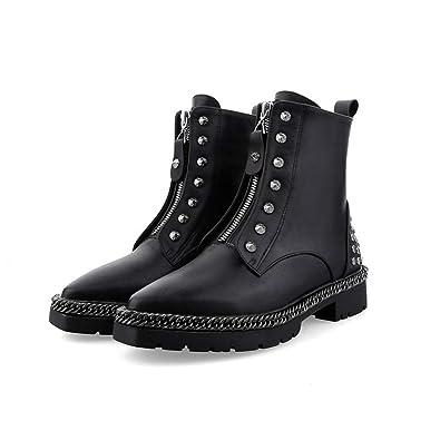 0e605ef8922d4 Amazon.com | Women Mid Calf Boots Cow Leather Winter Rivets Low Heel Short  Plush Martin Party Dress Shoes | Mid-Calf
